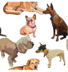 Seamless background with dogs vector
