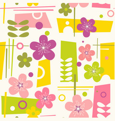 Seamless mid century modern spring pattern vector