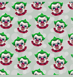 Seamless pattern with crazy scary clown faces vector