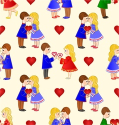 Seamless texture valentines various figure kids vector