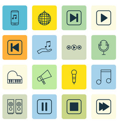 Set of 16 audio icons includes audio buttons vector