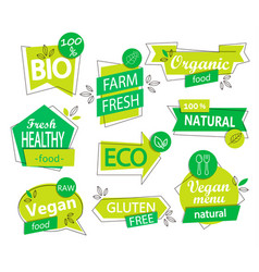 set of bio eco organic stickers or logos vector image