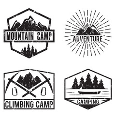 set of vintage labels mountain adventure and vector image