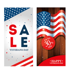 Set poster veterans day with promotion and vector