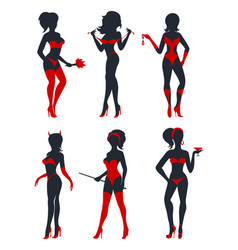 Sexy woman silhouettes set vector