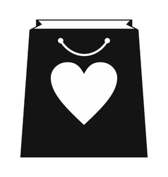 Shopping bag with heart simple icon vector image