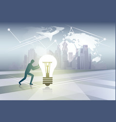 Silhouette business man pushing light bulb new vector