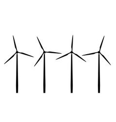 Silhouettes wind turbines vector
