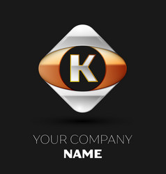 silver letter k logo symbol in the square shape vector image