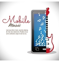 Smartphone electric guitar mobile note music vector