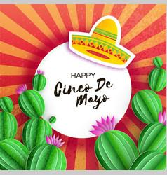 Sombrero hat cactus in paper cut style pink vector