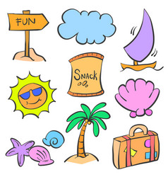 summer element cartoon doodle set vector image