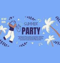 Summer party retro colored banner with saxophonist vector