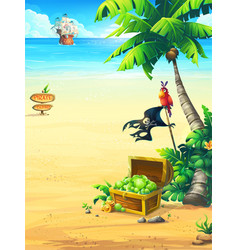 the ocean coast with chest parrot palm tree vector image