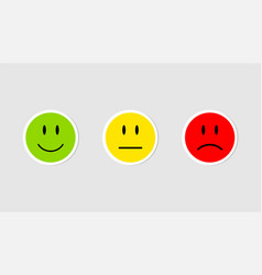 three stickers emoji emoticons green yellow and vector image
