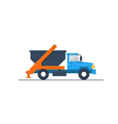 Truck with garbage container vector