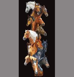 Vertical horses banner vector