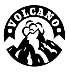 Volcano smoke logo simple style vector