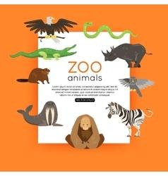 Wildlife background zoo animals banner vector