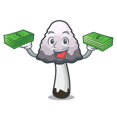 With money bag shaggy mane mushroom mascot cartoon vector