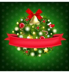 Xmas Wreath With Bells vector image