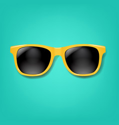 Yellow sunglasses with mint background vector