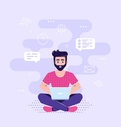 young man working with laptop flat style vector image