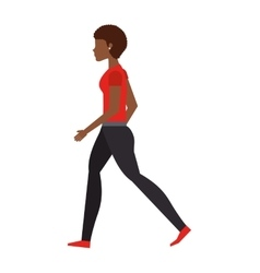Young woman walking isolated icon design vector