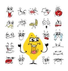 Cartoon Facial Expressions Set for Humor Design vector image