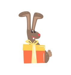 Cute cartoon rabbit with big gift box happy vector
