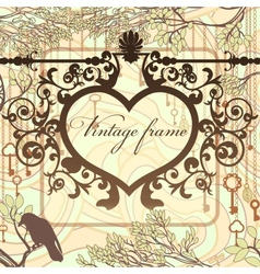 Vintage background with wrought heart frame and vector image vector image