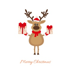 Christmas reindeer with gifts vector