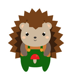 cute hedgehog in green jumpsuit cartoon kawaii vector image vector image