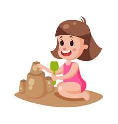 Cute little girl playing with sand on a beach vector