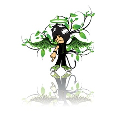emo kid with floral vector image