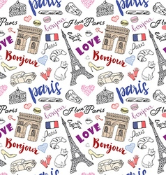 Paris seamless pattern with Hand drawn sketch vector image vector image