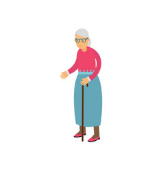 Senior woman standing with cane pensioner people vector