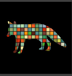fox wildlife color silhouette animal vector image vector image