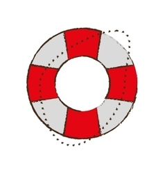 life buoy safety travel color sketch vector image