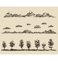 mountains contours clouds forest sketch vector image