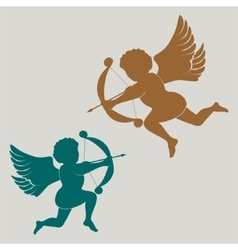 Silhouette cupid with bow vector