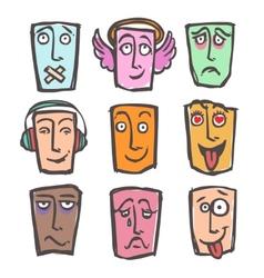 Sketch emoticons colored set vector image vector image