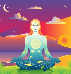 sunset meditation vector image vector image