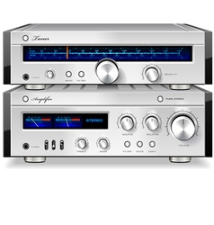 Analog Music Stereo Audio Amplifier and Tuner vector image vector image