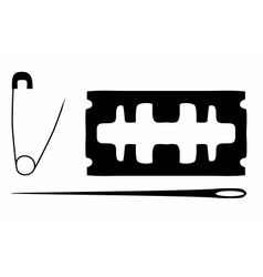 Black silhouette of blade needle safety pin vector image vector image