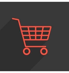 red shopping trolley with long shadow vector image vector image