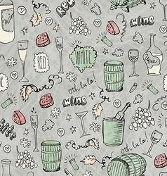 Wine sketch vintage seamless vector image vector image