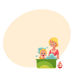 young mother washing her baby in bathtub full of vector image vector image