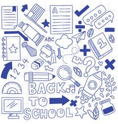 08-09-079 hand drawn set school icons vector