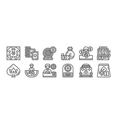 12 set linear casino icons thin outline icons vector
